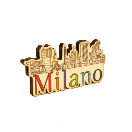 Magnete in legno Milano Skyline